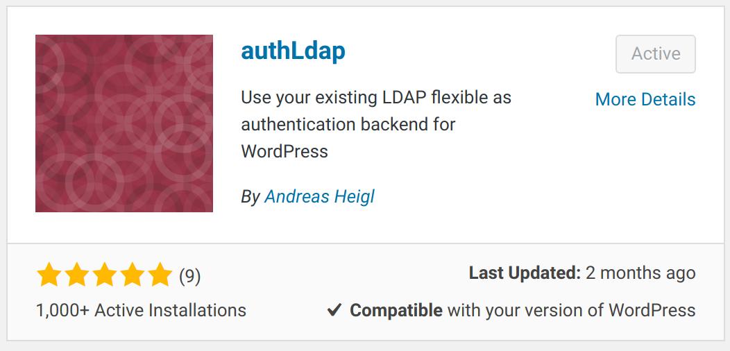 authLDAP plugin listing in WordPress add plugin screen
